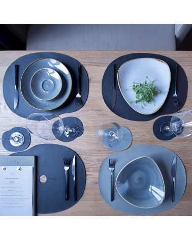 Black leather tablemat