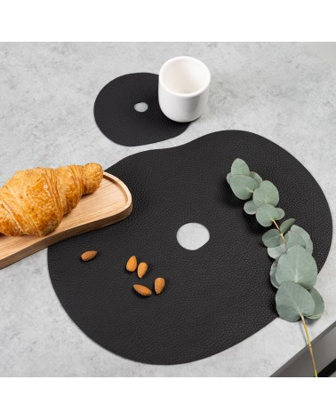 black leather placemats and coasters