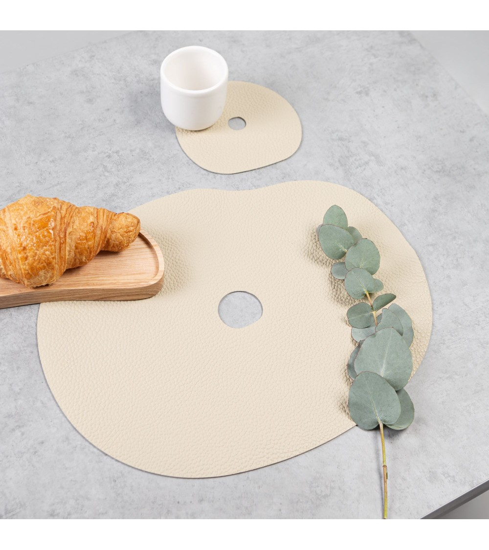 Leather placemat and coaster