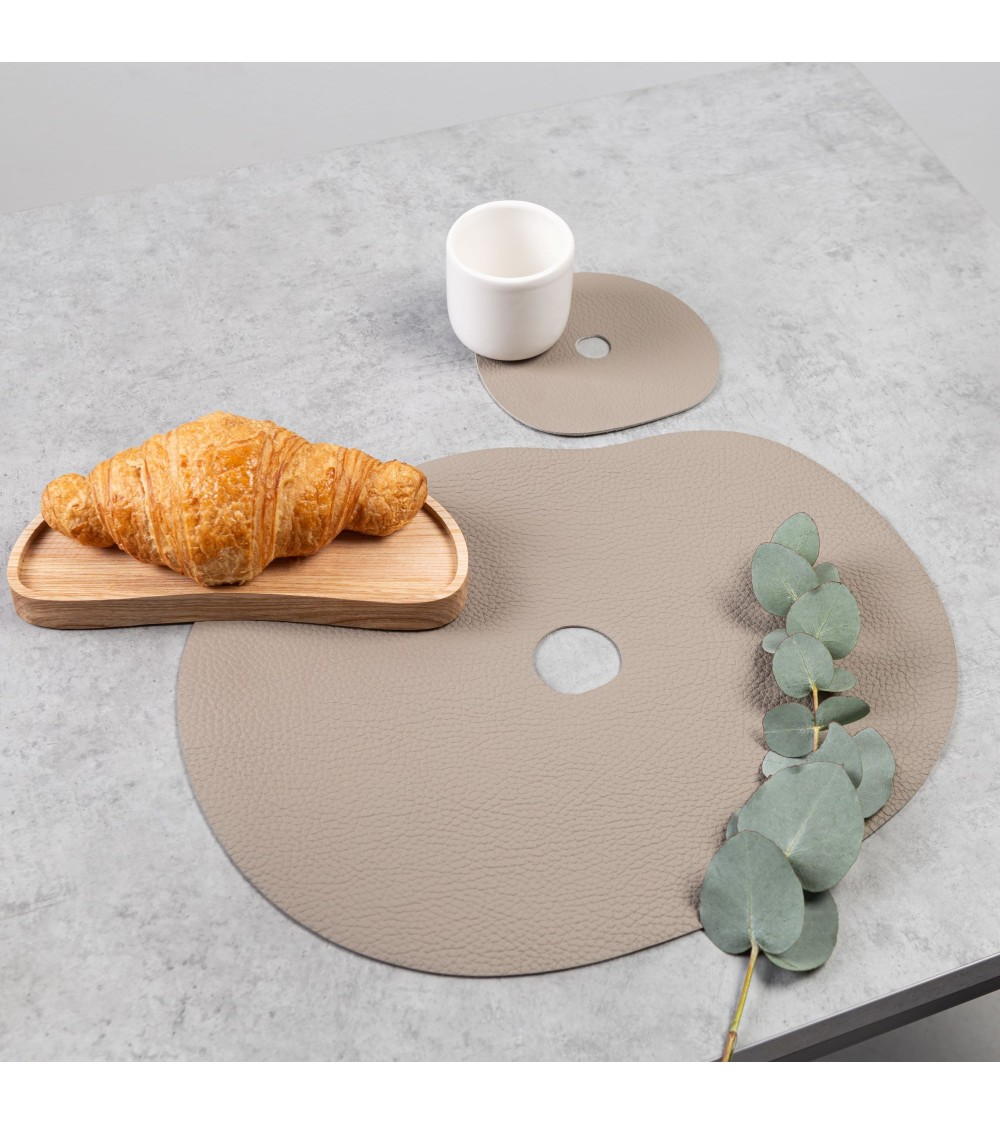 Beige leather placemat and coaster