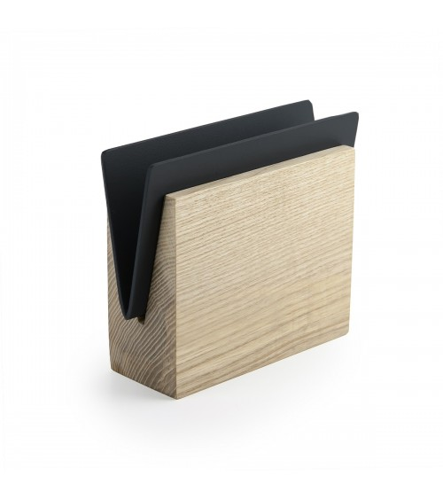 Napkin holder made from wood and black painted metal